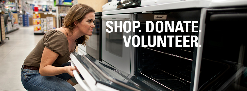 Interior image of the ReStore showing a woman shopping for appliances. Shop, Donate, Volunteer